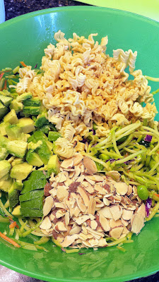 Broccoli Slaw, Edamame, Vinaigrette... then adding the last ingredients to toss in, the crispy fried ramen, toasted slivered almonds and the avocado for Ramen Noodle Broccoli Slaw