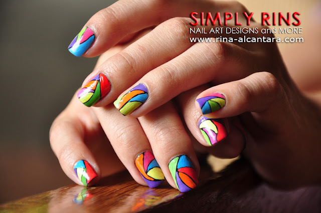 Colorful Abstract Nail Art Design 05