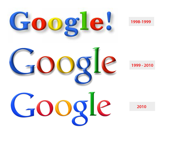 Originele 1998 Google-logo in vergelijking met iteraties van Ruth Kedar gelanceerd in 1999 tot en met 2010