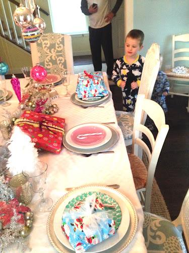 Christmas tablescape sugar plum fairy