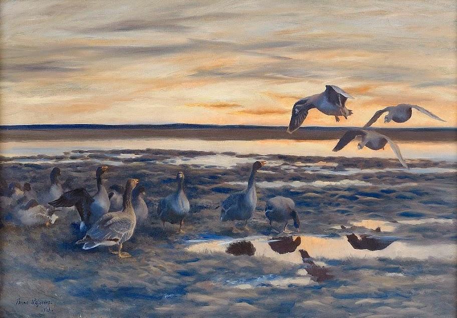 Bruno Liljefors - Bean geese shedding 1921