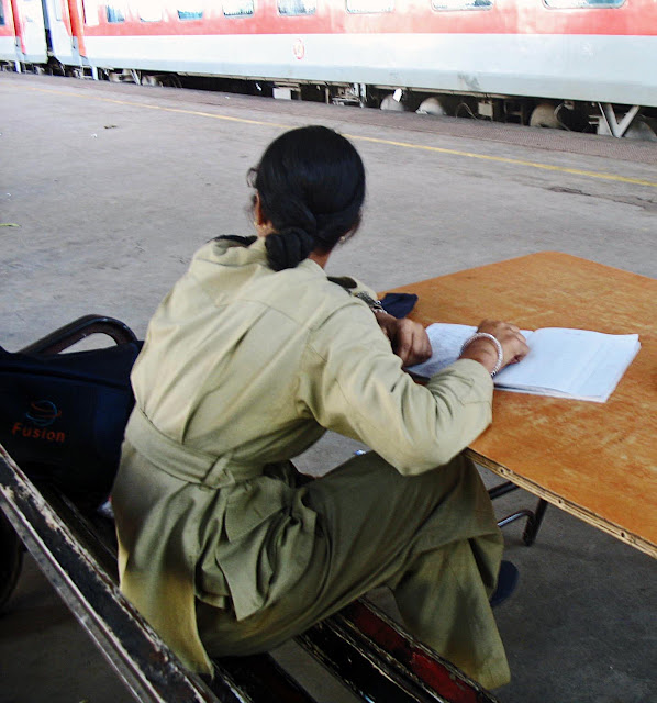 policewoman on duty at railway station