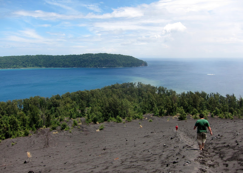 Running down Anak Krakatoa slope