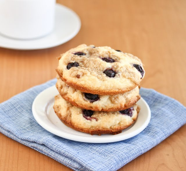 photo of a stack of Blueberry Coffee Cake Cookies