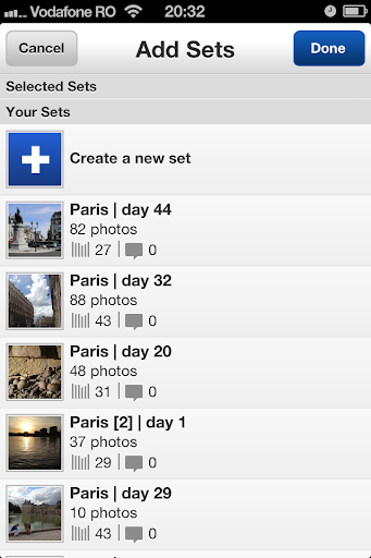 New Flickr iPhone app: Add photos to a set