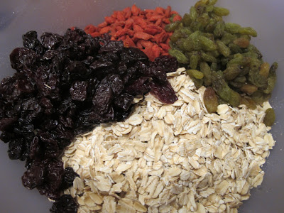 rolled oats and dried cherries, goji berries and golden raisings