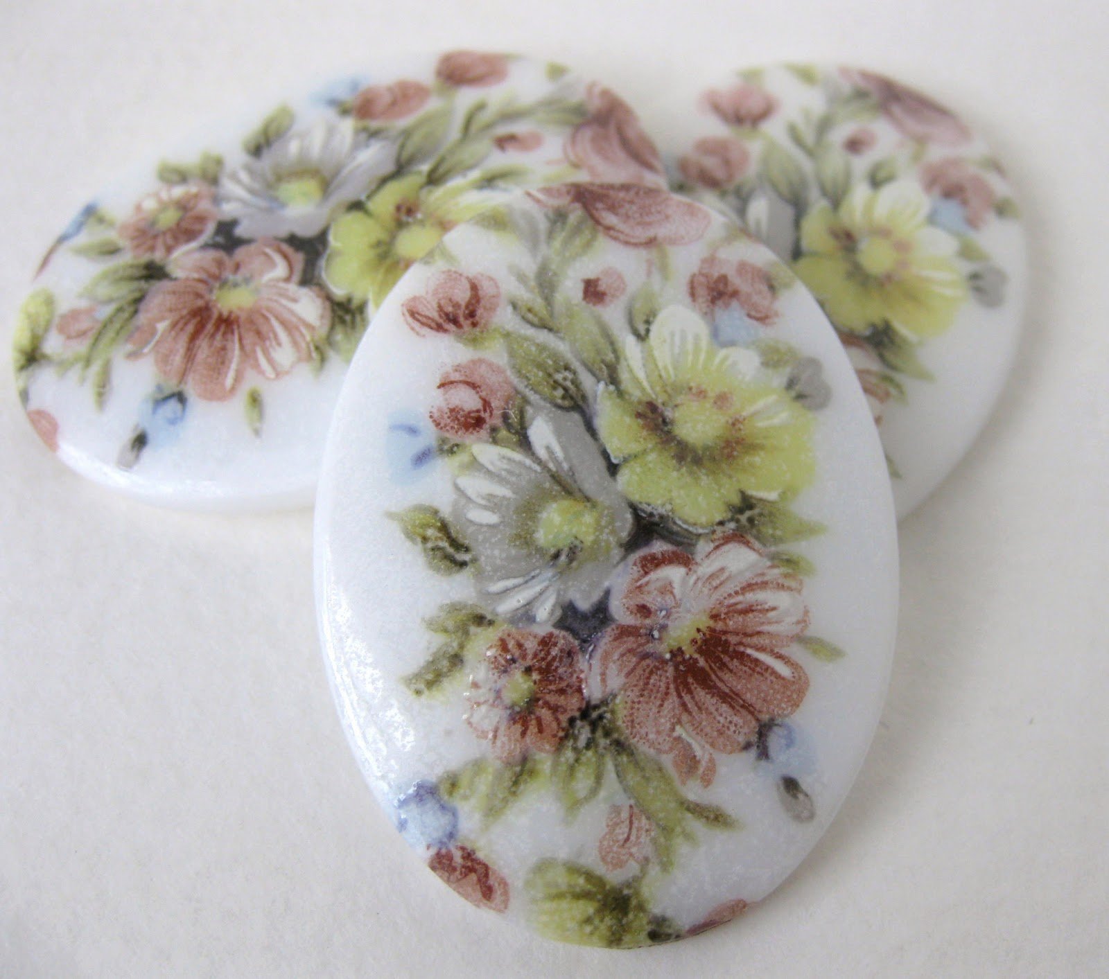 Miriam Haskell Flower Cameo Cabochons at Bumbershoot Supplies