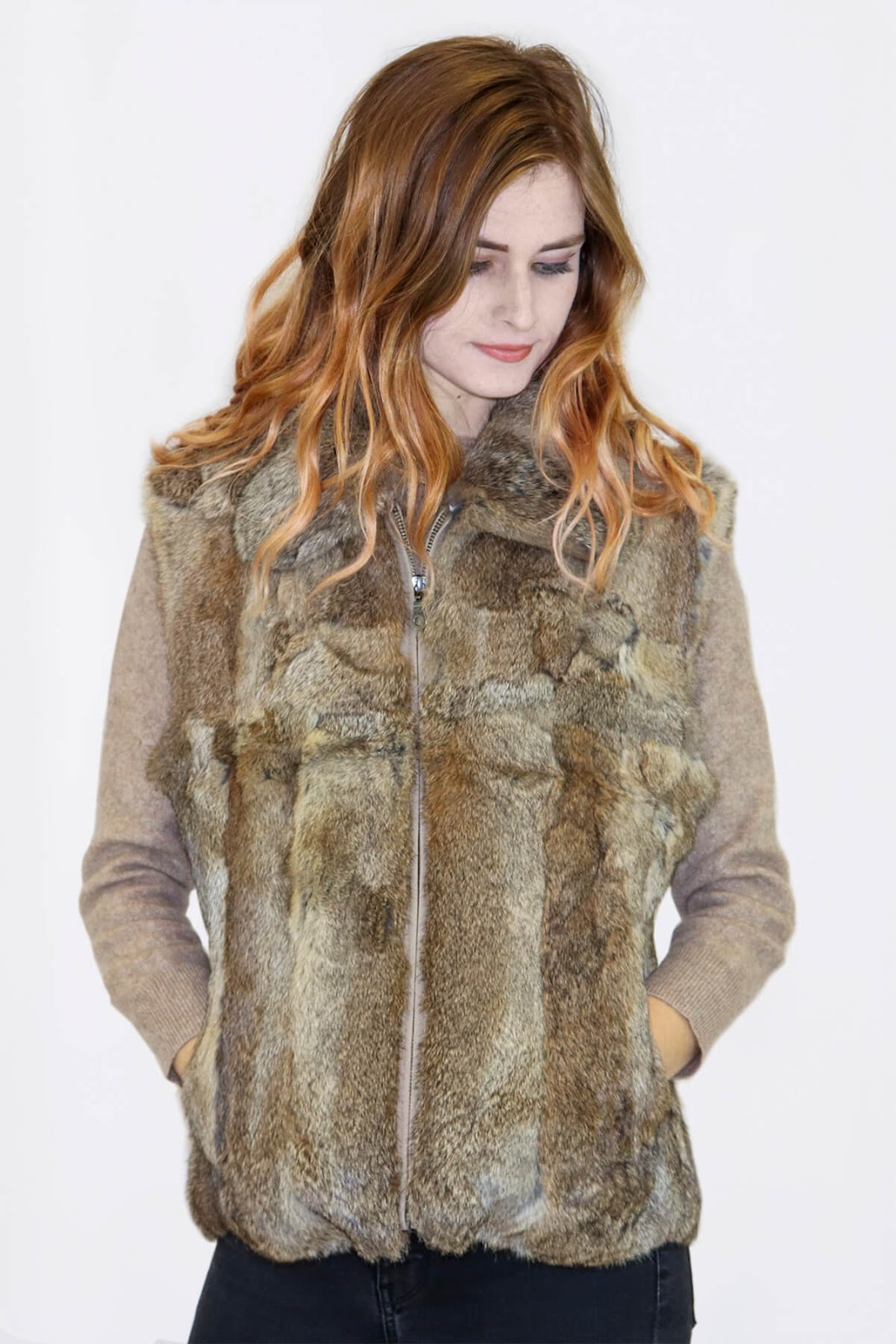 Rabbit Fur Vest in Heather