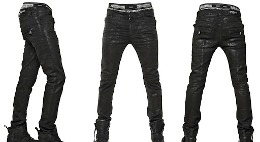 BALMAIN - 17CM WAXED STRETCH DENIM JEANS