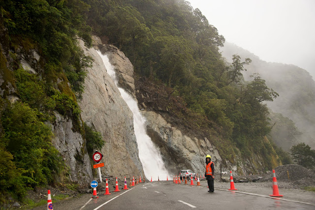 Construction in Haast Pass