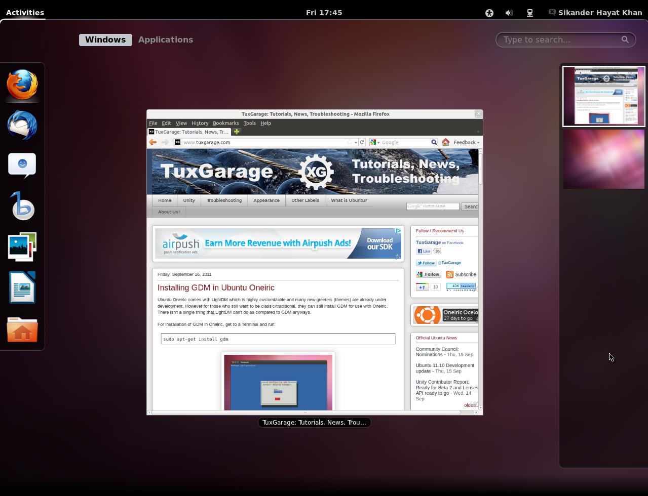 Ubuntu Oneiric GUI Options - Gnome Shell, Gnome Fallback and