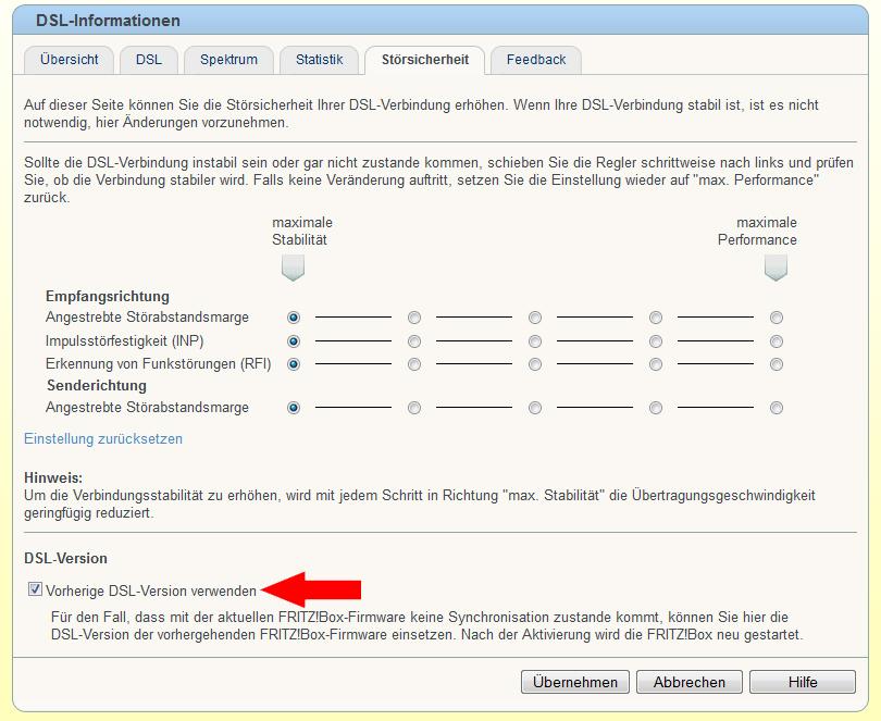 Fritzbox 3370 - vorige DSL Version verwenden