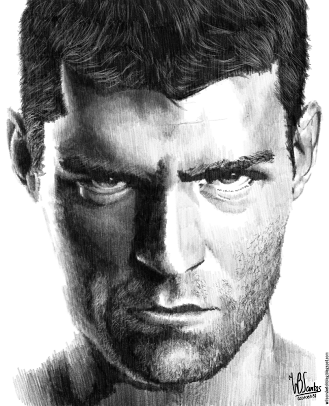 Pencil drawing of Liam McIntyre as Spartacus, using Krita 2.7 Alpha.
