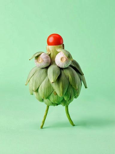 Bird made of vegetables
