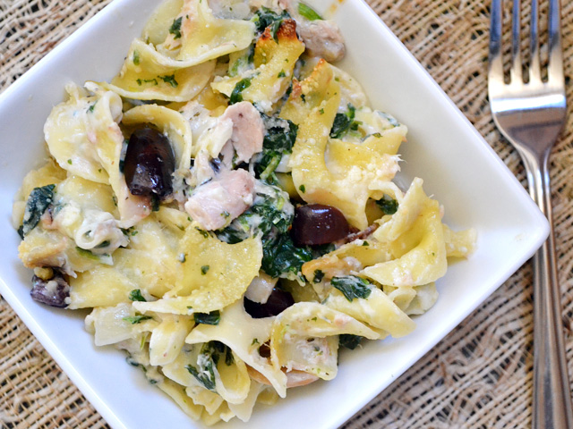 Tuna Noodle Casserole with Spinach & Olives