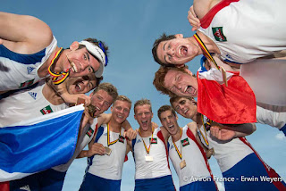 Championnat d'Europe juniors 2014 (Hazewinkel)8+ juniors hommes(Photo FFA - Erwin Weyers)