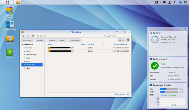 Desktop des Synology DSM