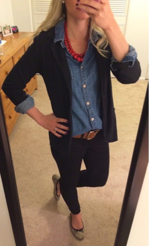 Fall look, jean shirt with black blazer