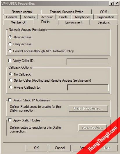 Tạo User và cấp quyền VPN
