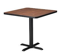 "Mayline - Bistro Dining Table 30"" Square - Black Steel Base - HPL"
