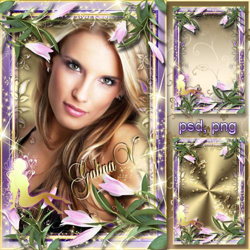 Цветочная рамка - Фея в розовых лилиях