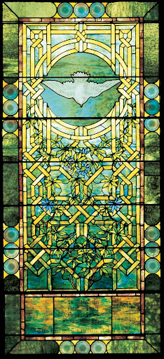 Anna Innes memorial window, one of nine Tiffany leaded-glass windows to be installed at Christmas in the Park