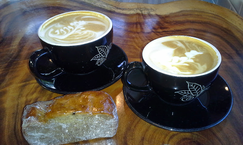 lattes at kona coffee and tea company