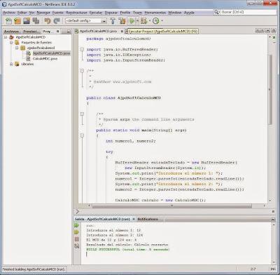 Instanciar y referenciar la clase CalculoMCD y probar la aplicación Java para cálculo de MCD