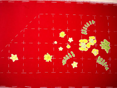 Ruth O'Leary Textile Art - work so far: pearlworts and wood avens appliqued onto St Cuthbert's Banner