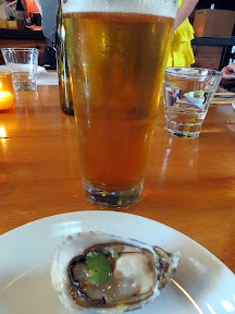 Starter of Shigoku oysters, tomato, fish sauce, lime, cilantro, paired with Newport Summer Ale, Smallwares PDX, Breakside Brewery, Smallwares and Breakside Beer Dinner