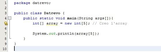 Codice esempio di ArrayOutOfBoundsException - Datrevo