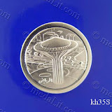 Riyadh Water Tower. Traditional Arabic impressions. Silver plated minted brass medal 35 mm in diameter.