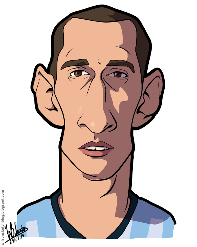 Cartoon caricature of Pablo Zabaleta.