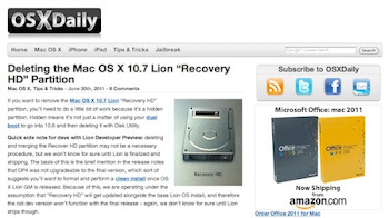 "Deleting the Mac OS X 10.7 Lion ""Recovery HD"" Partition"
