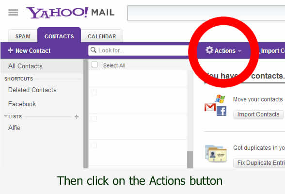 Actions required to save Yahoo and Talk21.com email contacts to your pc - by dorsetdog.com