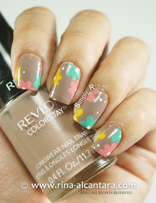 Floral Pastel on Nude Nail Art Design on Revlon Mocha