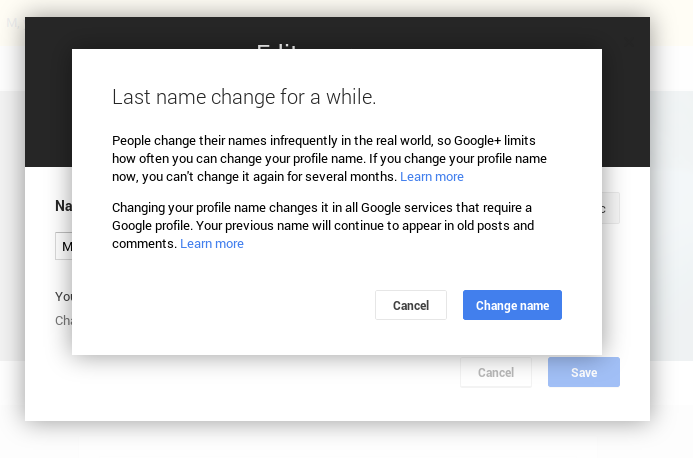 how to know when i can change my google name