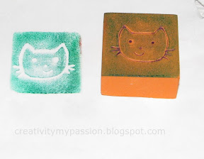 Make Impression on Foam Blocks and Stamp
