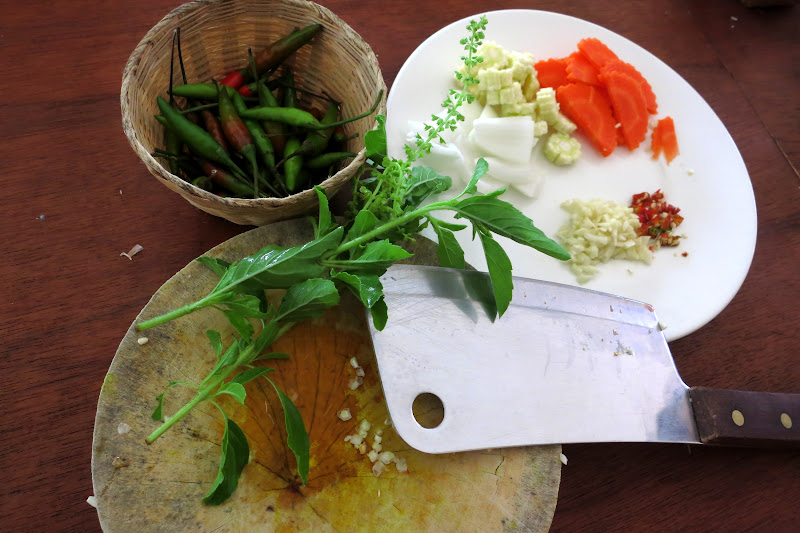 Prep for holy basil stir fry