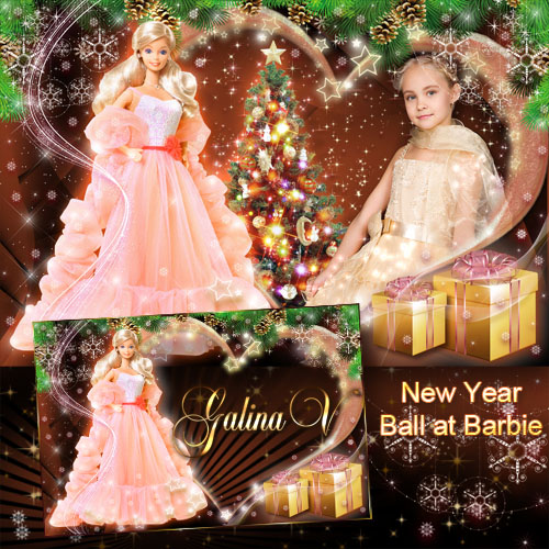 Frame for Little Girls - New Year Ball at Barbie