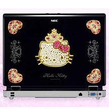 Notebook personalizado com adesivos da Hello Kitty e miçangas