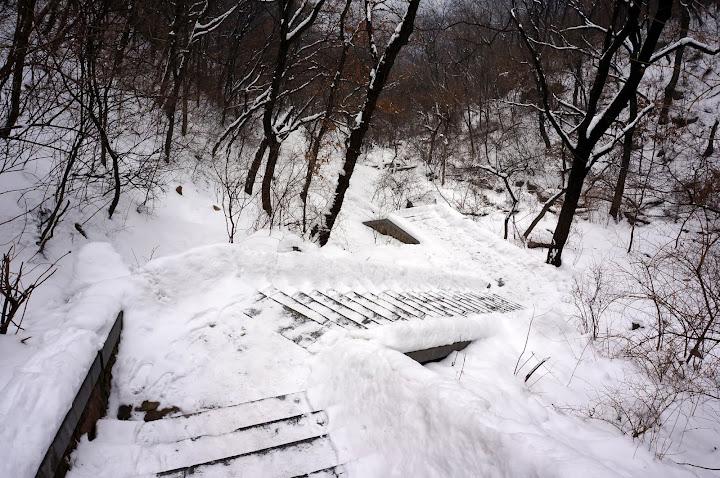 Escaleras en el bosque en el templo Shaolin