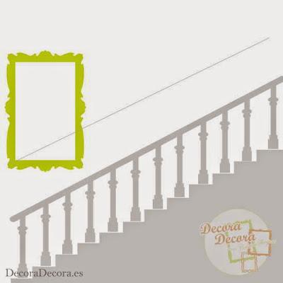 Ideas para colgar cuadros en una escalera.