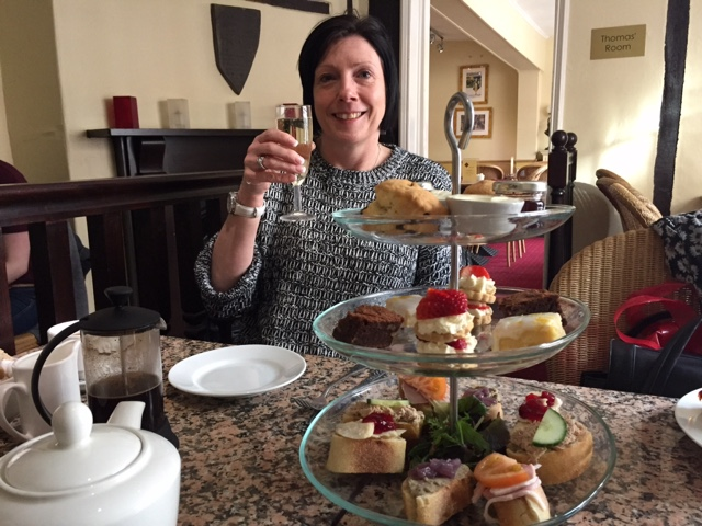 My mum enjoying prosecco afternoon tea at Georgina's Cafe in York