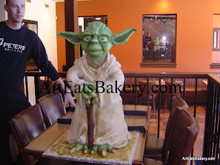 Star Wars Yoda unique creative custom fondant 3D Groom's cake design at J Peters in Seneca SC