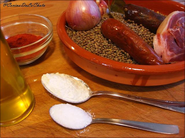 Ingredientes de las Lentejas de La Chata