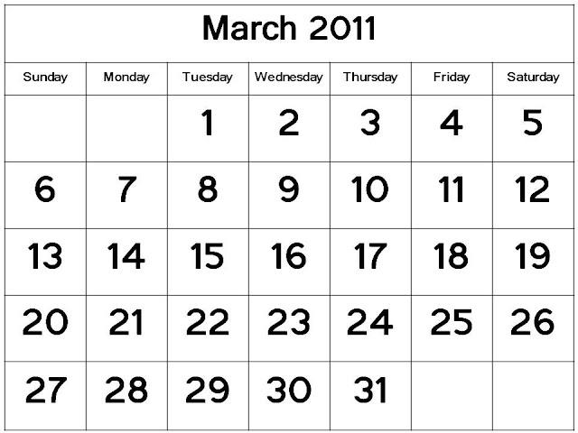 Free 2011 March Calendar