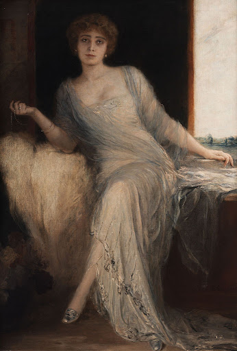 Friedrich August von Kaulbach - Portrait einer sitzenden Dame