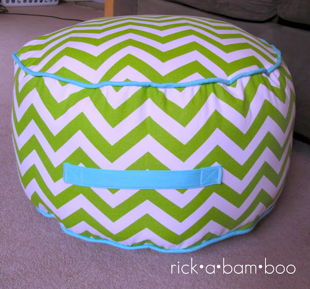line green chevron floor pouf