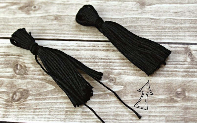 After creating loops and tying off the ends, cut the skein in half and trim the ends.